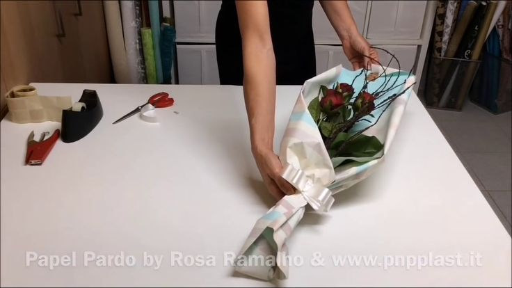 Roses with double-sided cellophane #wrapflowers