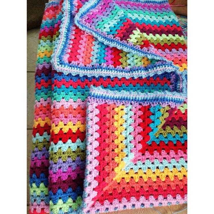 Megs granny stripey blanket