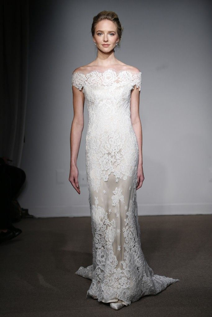 Off Shoulder Wedding Dress Anna Maier Bridal Fall 2015
