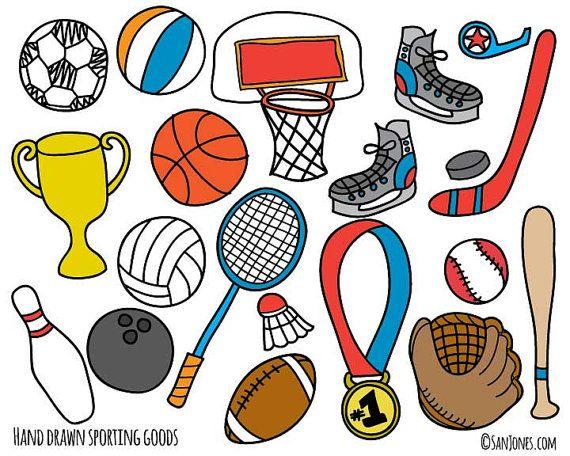 Sports Clip Art Hand Drawn Clip Art Sporting by SanJonesDigi, $6.00