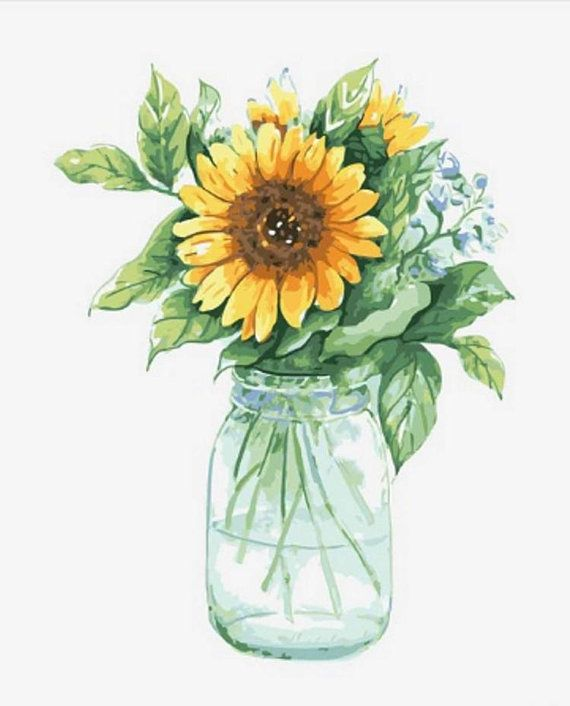 Sun Flowers Paint By Number Kit Still Life Painting On Canvas