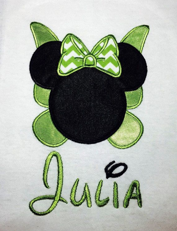 Miss Mouse Head Inspired by TINKERBELL and Minnie with Chevron Bow Embroidery and Applique T-Shirt for Children and Adults