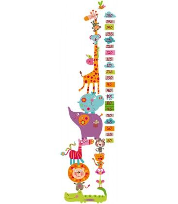 vinilo infantil medidor happy animales salvajes