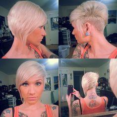 asymmetrical blonde short hairstyle for girls Undercut. Platinum hair. Short hair.