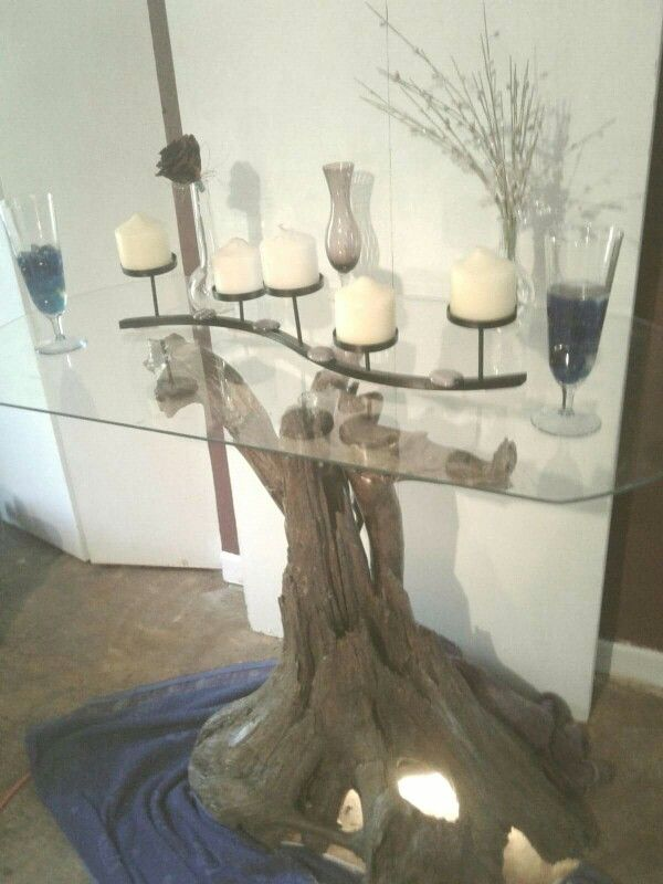 Beautiful drift wood table glass.  $500