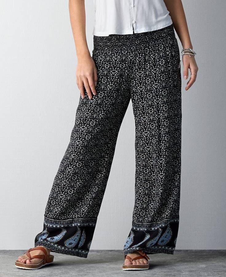 American Eagle Printed Wide Leg Soft Pants, Women's, Grey ...