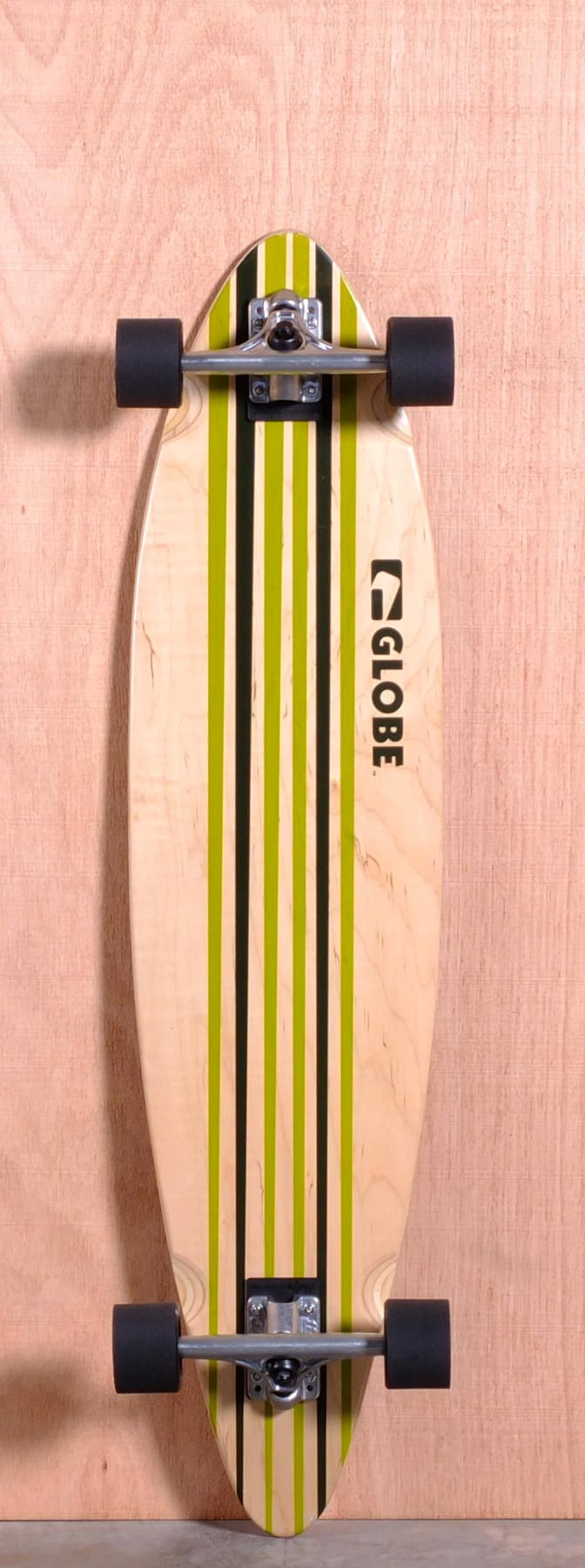 """The Globe Pinner Longboard Complete is designed for Cruising and Carving. Ships fully assembled and ready to skate!  Function: Cruising, Carving  Features: Concave, Kick Tail  Material: 7 Ply Maple  Length: 41""""  Width: 9.875""""  Wheelbase: 30.5""""  Thickness: 7/16""""  Hole Pattern: New School  Grip: Clear"""