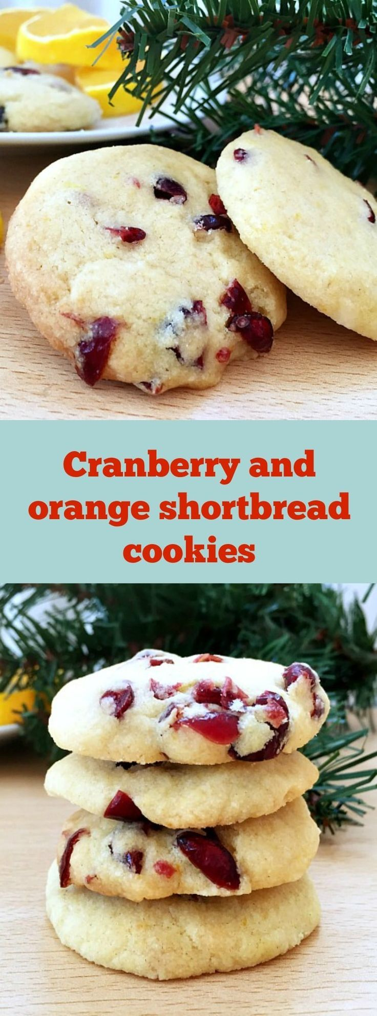 Cranberry orange shortbread cookies, the best Christmas baking treats. They are perfectly soft, crumbly, buttery, pure delish. #cranberryorangeshortbreadcookies, #shortbreadcookies, #christmascookies
