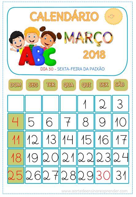 Calendário MARÇO 2018