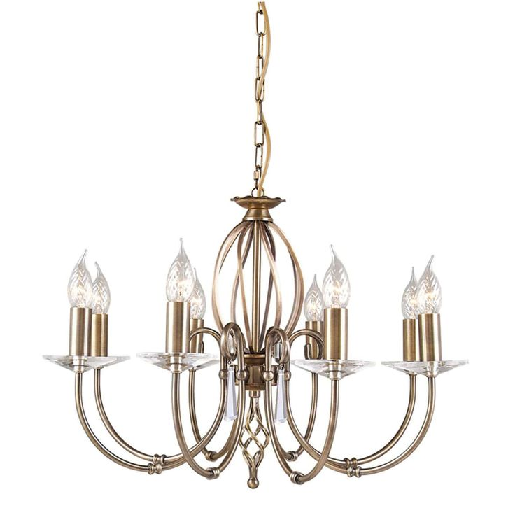 Elstead Aegean 8 Light Aged Brass Candle Chandelier Ag8