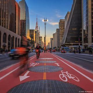 E o pôr-do-sol foi o mais bonito.   33 imagens adoráveis da inauguração da ciclovia na Avenida Paulista
