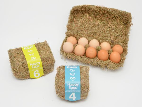 Sustainable egg cartons made from heat pressed hay » http://www.greenerideal.com/lifestyle/0827-happy-eggs-sustainable-packaging/