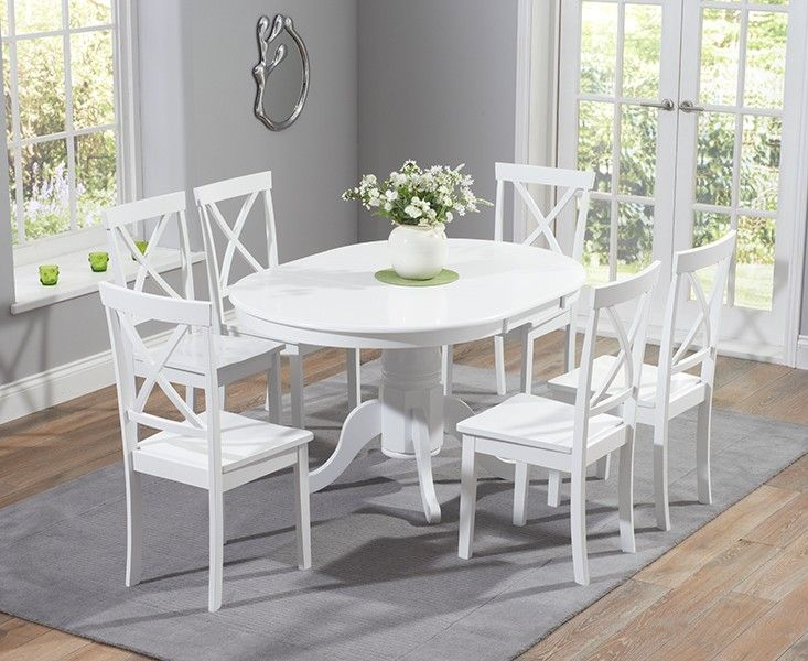 buy the epsom white pedestal extending dining table set with chairs at oak furniture superstore. Black Bedroom Furniture Sets. Home Design Ideas