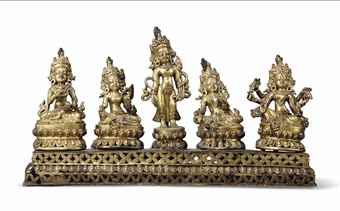 A GILT-BRONZE GROUP OF FIVE BUDDHIST DEITIES NEPAL, EARLY 20TH CENTURY On pierced plinth, each on lotiform base, including Vajrasattva, Syamatara, Lokeshvara, Syamatara and Vasudara, each holding their respective attributes, their faces with serene expression, the reverse of the plinth cast with inscription in Newari script 12 ¼ in. (31 cm.) wide
