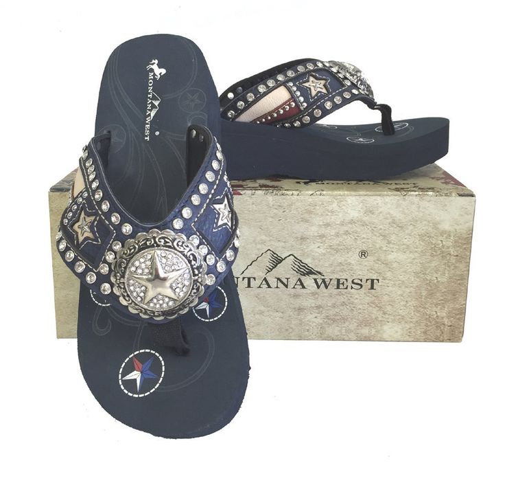 """Montana West Ladies Flip Flops Texas Flag Lone Star Cutouts Navy Blue, 7 M US. Texas flag embroidered Lone Star and stripes applique design. A large 2"""" rhinestone encrusted star concho. A small silver star within a star cutout on strap. Rhinestones and silver embellishments on strap. Texas Pride Collection."""