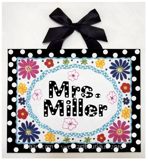 The 25 best teacher name signs ideas on pinterest teacher name personalized teacher name sign custom canvas wall art classroom decor wall hanging painting black white dots flowers teacher door sign pronofoot35fo Gallery