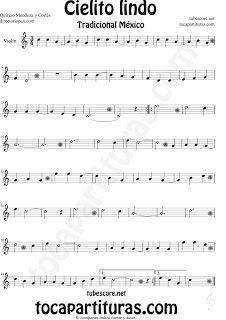 Partitura de Cielito Lindo de Violín Cielito Lindo Sheet Music for Violin…