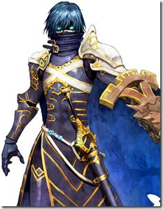 """Chrom (CV: Tomokazu Sugita): Master: Itsuki Aoi - Shin Megami Tensei X Fire Emblem; Chrom is a prince from a land in another dimension, and he's a """"Lord"""" Mirage. Since transferring to this world, he has lost his memories. He has a courageous personality, and a strong sense of justice. While in combat, he changes into a sword as a trusted partner for Itsuki, who isn't very experienced in combat. << he pulled a Robin, guys. My gosh..."""