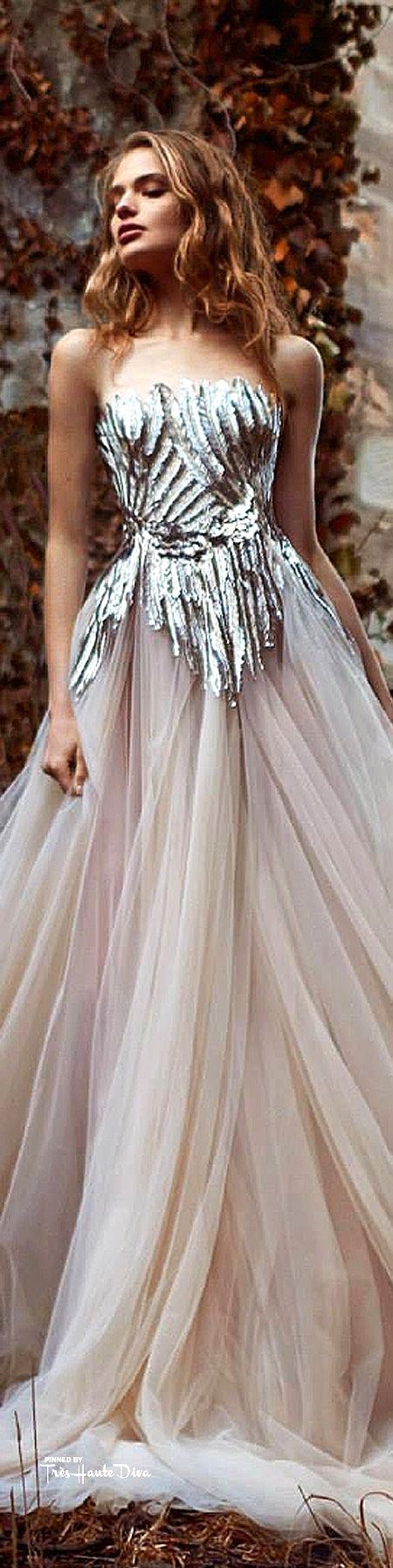 Paolo Sebastian ~ Couture Silver Metallic Bodice w dropped waistline + Full Pleated Blush Skirt   Summer2015