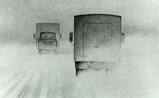 Two Trucks Passing - Christopher Pratt
