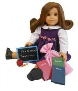 School Desk Supply Set - If you have an American Girl Doll Lover this is a great list of Cheap Accessories like Doll Beds, Brushes, scooters, Clothing and more. A Great Way to save over buying all the name brand items! #americangirl #dolls #christmas
