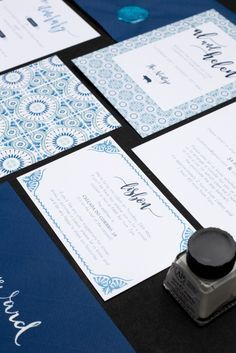 Blue, Portuguese tile inspired, destination bespoke wedding invitation set by Rose, Paper, Scissors.