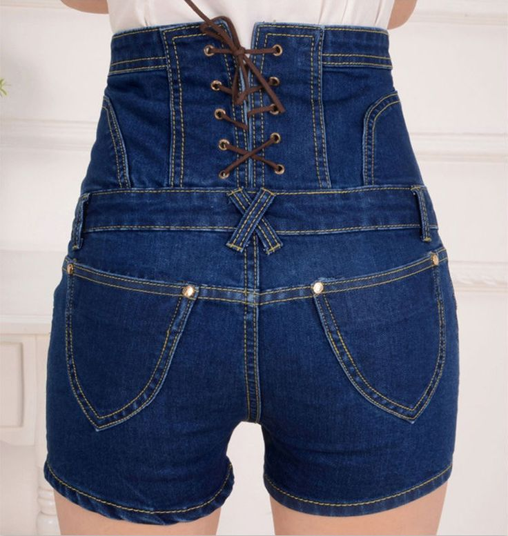 2015 Summer Style High Waisted Denim Shorts Femme Slim Korean Casual Button Bandage Retro Short Women Jeans Pantalon Corto Mujer