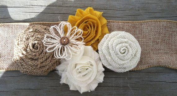 Rustic Mustard Yellow Burlap Flower Girl Sash/Rustic Flower Girl Outfit/Country Wedding/Burlap Sash/Burlap Headband/Yellow Burlap Headband
