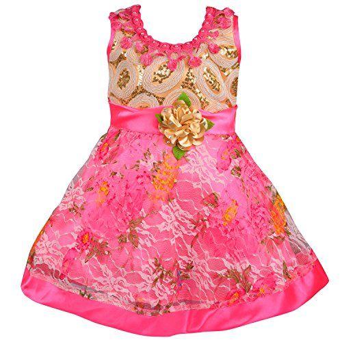 Wish Karo Baby Girls Party Wear Frock Dress DN Fe1035pnk