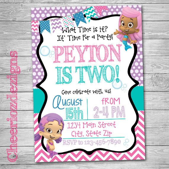 Bubble Guppies Birthday Invitation -Girl Birthday - Minions Party - Custom - Digital File- Printable by CheeriozDezigns on Etsy