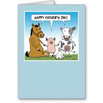 """Say """"Happy Father's Day"""" with this funny card that features a horse, a pig, a cow and a chicken who wish dad all the best. #funny #father's #day #card #dad #cartoon #farm #animals #horse #pig #cow #chicken herd"""
