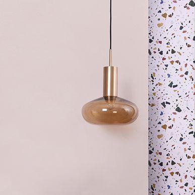 Suspension globe verre Gambi Eno Studio - ambré et douille cuivrée