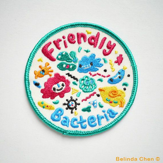 Friendly Bacteria Patch is 8 x 8 cm It is super cool and colorful!  When dispatched, the patch will be secured with cardboard and wrapped in cellophane