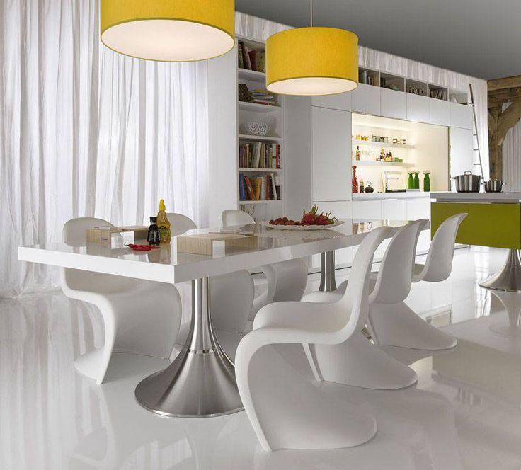 Marvellous Yellow Pendant Lights Wih Large Size And White Clean Dining Table Lighting