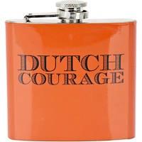 Orange Dutch Courage hip flask river island