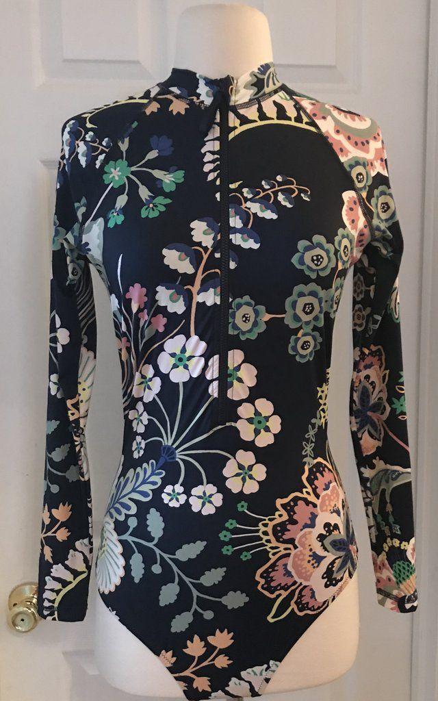7ca6f1ea5c J.CREW ZIP-UP LONG-SLEEVE SWIMSUIT IN LIBERTY FLORAL SYMPHONY SIZE 4 H7640  NAVY