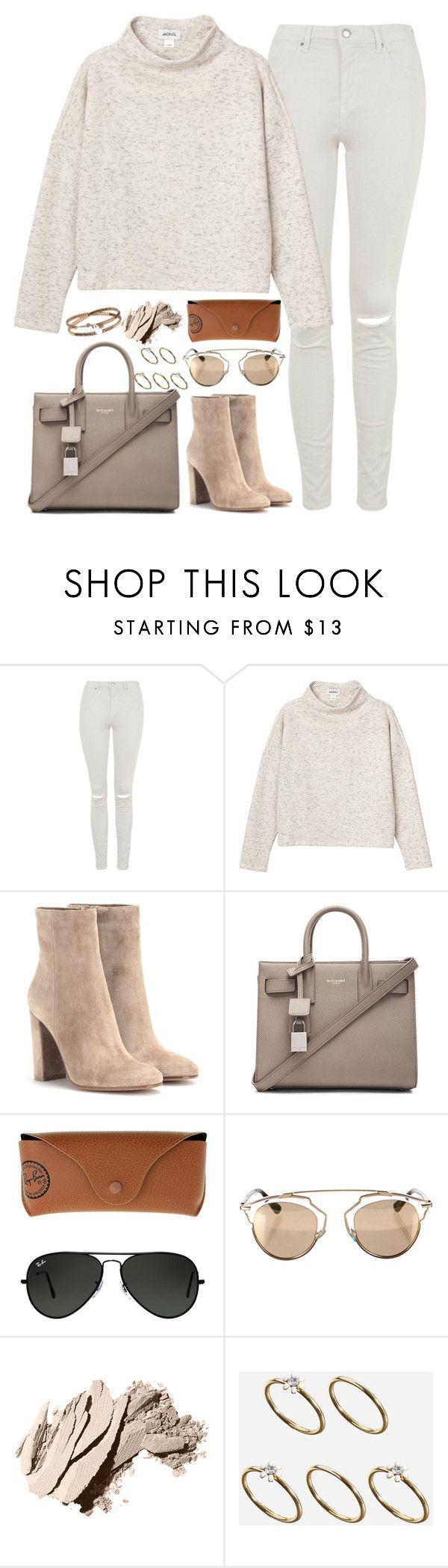 """""""Untitled#4408"""" by fashionnfacts ❤ liked on Polyvore featuring Topshop, Monki, Gianvito Rossi, Yves Saint Laurent, Ray-Ban, Christian Dior, Bobbi Brown Cosmetics and ASOS"""