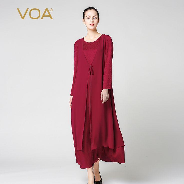 Encontrar Más Vestidos Información acerca de Rojo vestidos sueltos de seda de VOA de la marca de lujo jacquard tobillo vestidos camiseta de manga larga o cuello vestidos largos sólidos A7170, alta calidad Vestidos de VOA Flagship Shop en Aliexpress.com