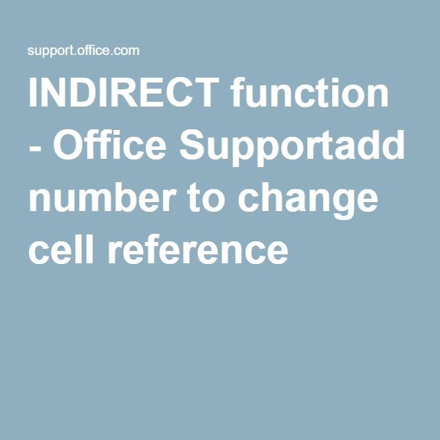how to use indirect in excel