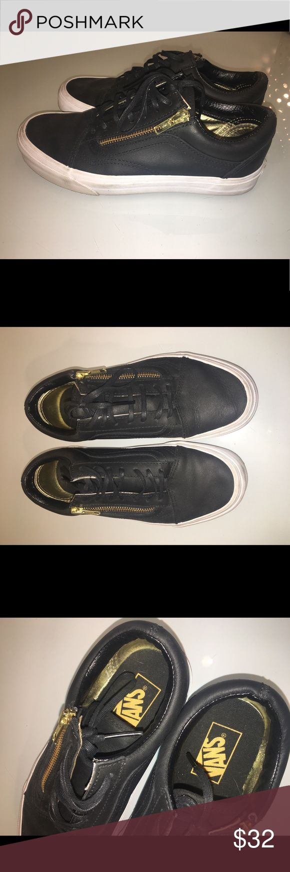 Vans Old Skool Zip Black Leather - 5M/ women's 7 Worn maybe three times. Super cute vans with coated laces, black leather with gold zip. If it weren't for the scuffs on the white rubber sidewall (pictured), they'd look brand new. Scuffs could probably be removed with Magic Eraser. Smoke free home Vans Shoes Sneakers