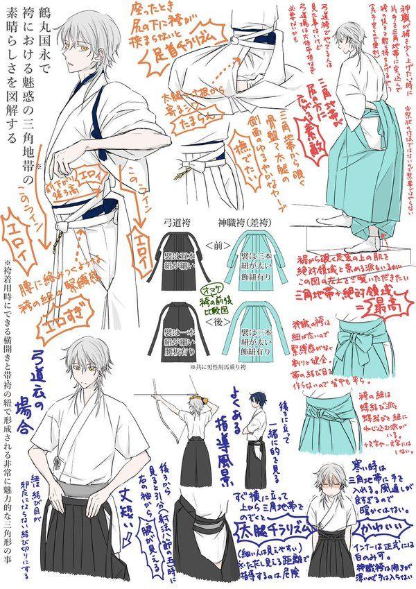 とうろぐ-刀剣乱舞漫画ログ - 鶴丸さんで袴における魅惑の三角地帯の素晴らしさを図解してみました ※神職装束、弓道衣有り