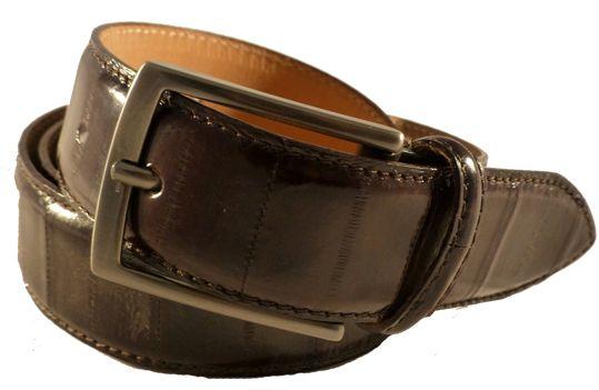 Eel leather belt for men, Florentine leather