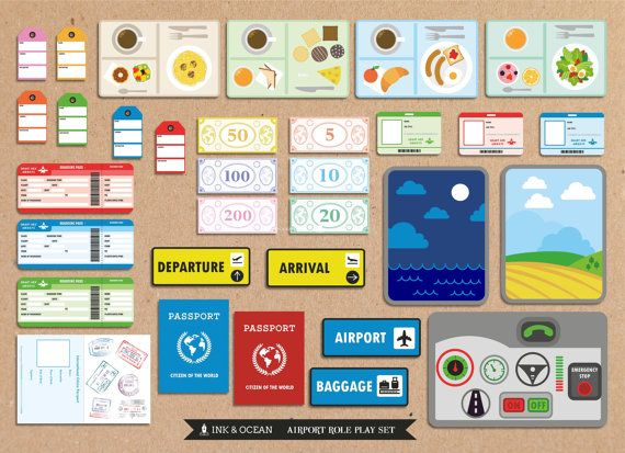 Pretend paly bumper Printable Airline Activity role play set for class, school or home school.