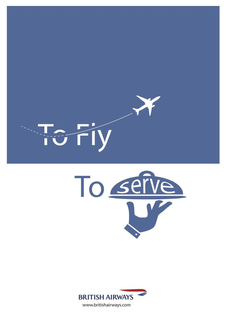 'To Fly. To Serve' British Airways Typography poster by Ben White, Esher College 2017