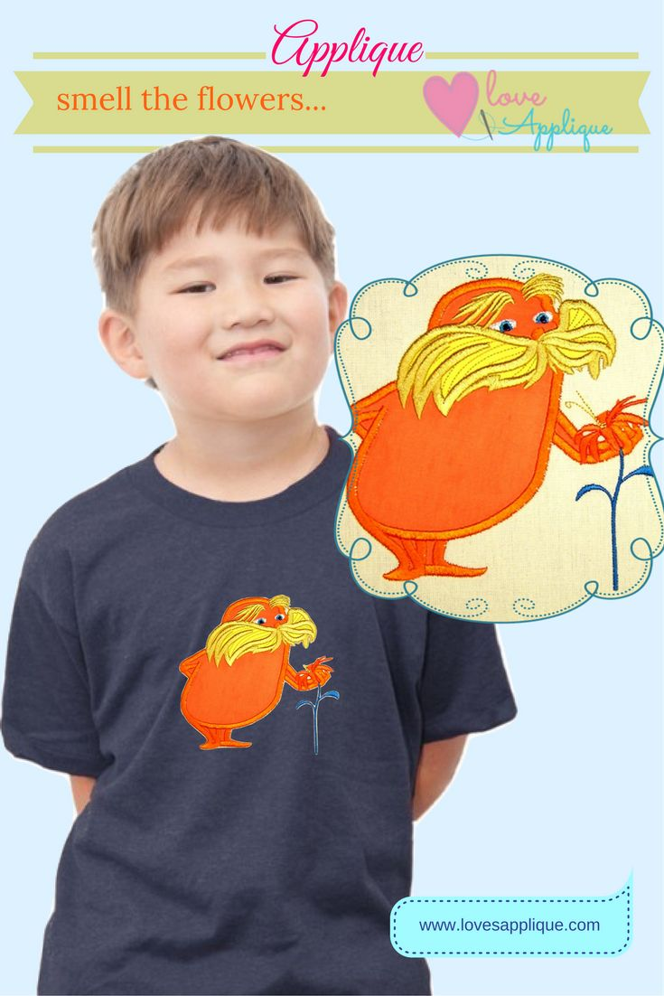 The Lorax Applique. The Lorax Embroidery. The Lorax Party Ideas, Dr Seuss Applique. The Lorax outfits, The Lorax designs. www.lovesapplique.com