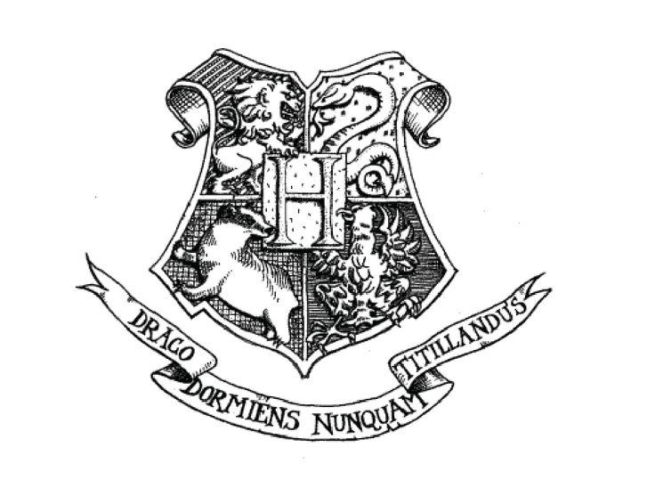 hogwarts logo black and white | Blason harry potter ...