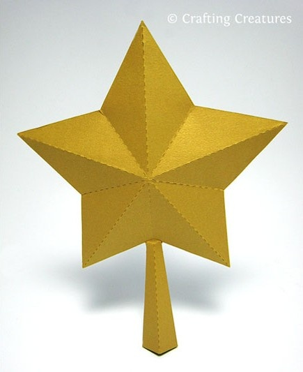 3D Paper Star for Xmas Tree Topper (FREE SVG, DXF, PDF) / Crafting Creatures