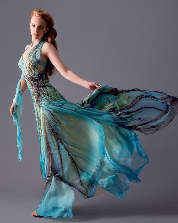 flowing water-print dress
