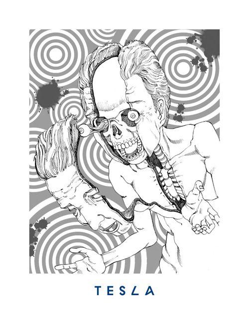 02 TESLA Keys - Herbie Hancock  'You're Dead!' Flying Lotus artwork by Shintaro Kago