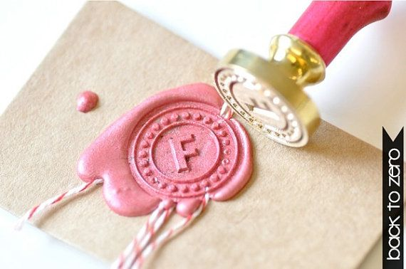 Personalized Custom Initial Gold Plated Wax Seal door BacktoZero, $20.00